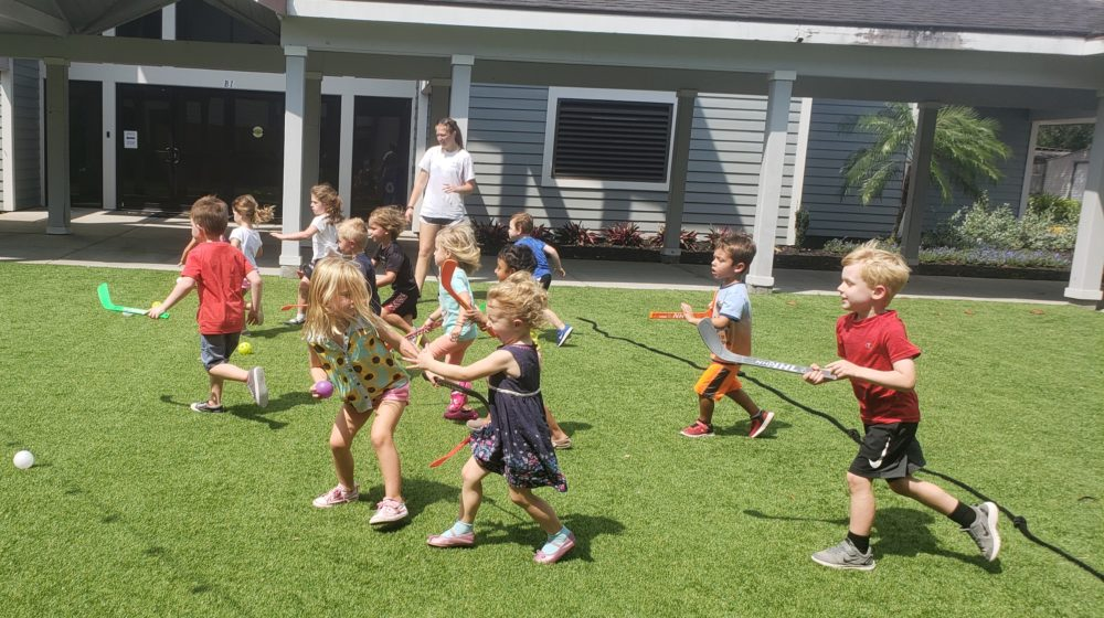 Image of pre-k kids playing a warm up game